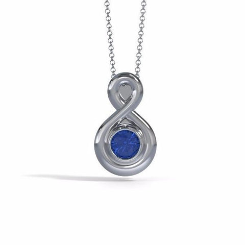 Memorial Jewelry - Eternity Pendant (Small) in Platinum with Blue Sapphire - Front