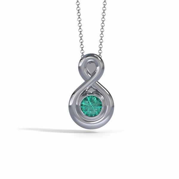 Memorial Jewelry - Eternity Pendant (Small) in Platinum with Emerald - Front