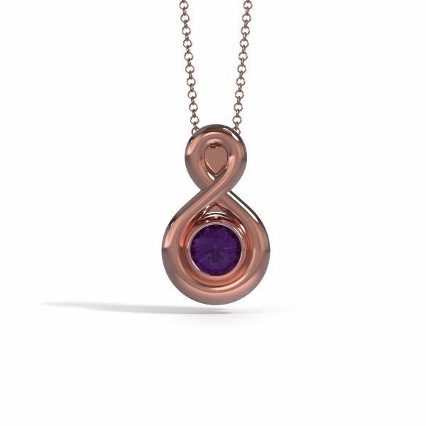 Memorial Jewelry - Eternity Pendant (Small) in 18k Rose Gold with Amethyst - Front
