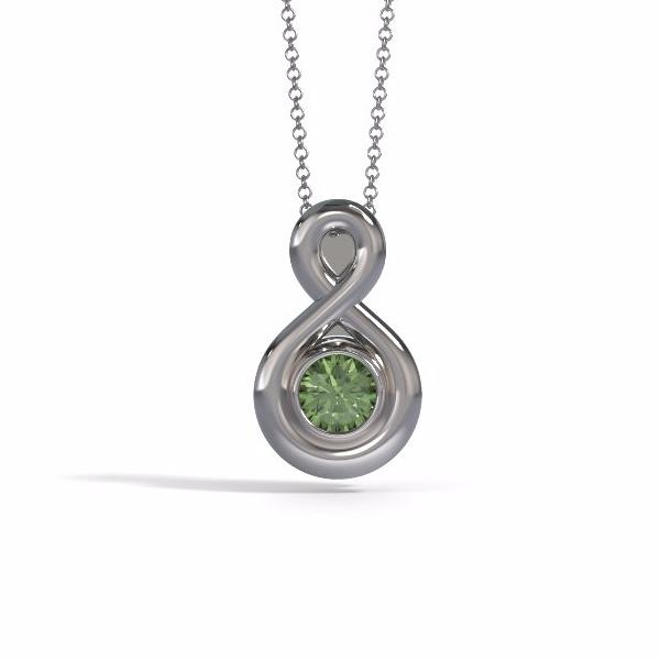 Memorial Jewelry - Eternity Pendant (Small) in White Gold with Peridot - Front