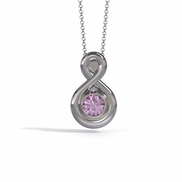 Memorial Jewelry - Eternity Pendant (Small) in 18k White Gold with Pink Tourmaline - Front