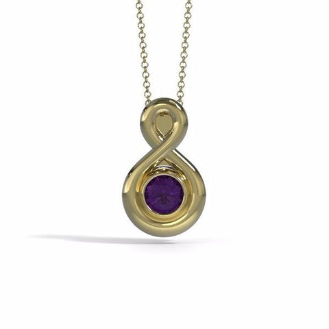 Memorial Jewelry - Eternity Pendant (Small) in 18k Yellow Gold with Amethyst - Front
