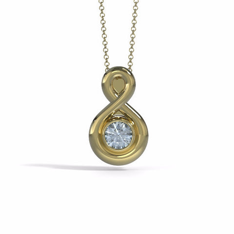 Memorial Jewelry - Eternity Pendant (Small) in 18k Yellow Gold with Aquamarine - Front