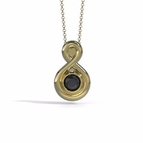Memorial Jewelry - Eternity Pendant (Small) in Yellow Gold with Black Onyx - Front