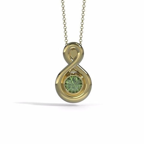 Memorial Jewelry - Eternity Pendant (Small) in 18k Yellow Gold with Peridot - Front
