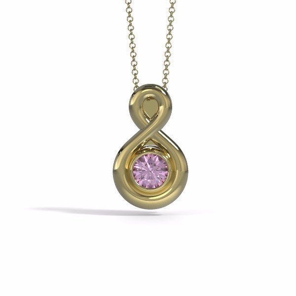 Memorial Jewelry - Eternity Pendant (Small) in Yellow Gold with Pink Tourmaline - Front