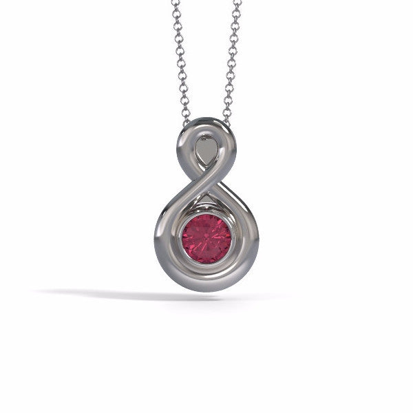 Memorial Jewelry - Eternity Pendant (Small) in White Gold with Garnet