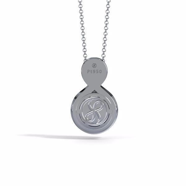 Memorial Jewelry - Sparkling Eternity Pendant (Small) in Platinum with Blue Sapphire and Diamonds- Back