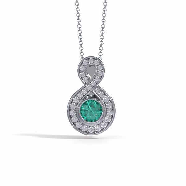 Memorial Jewelry - Sparkling Eternity Pendant (Small) in Platinum with Emerald and Diamonds- Front