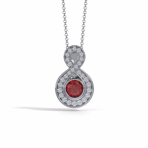 Memorial Jewelry - Sparkling Eternity Pendant (Small) in Platinum with Ruby and Diamonds - Front