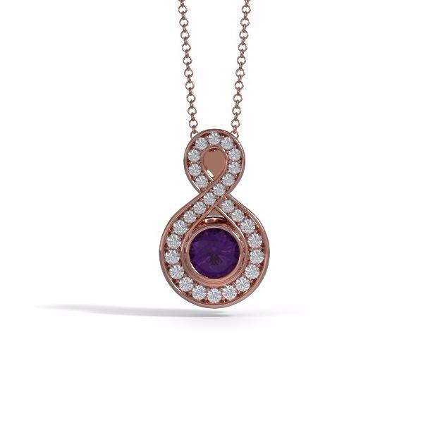 Memorial Jewelry - Sparkling Eternity Pendant (Small) in 18k Rose Gold with Amethyst and Diamonds- Front