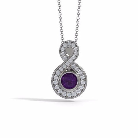 Memorial Jewelry - Sparkling Eternity Pendant (Small) in 18k White Gold with Amethyst and Diamonds- Front