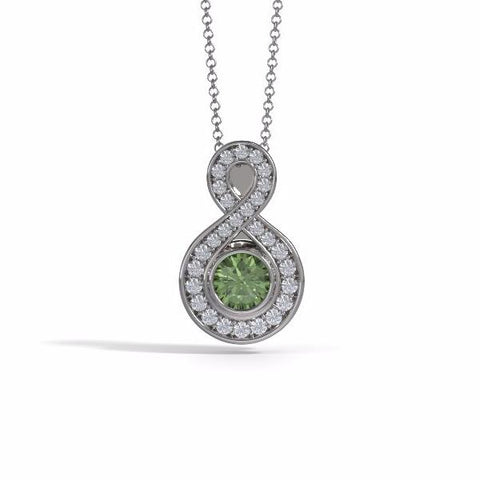 Memorial Jewelry - Sparkling Eternity Pendant (Small) in 18k White Gold with Peridot and Diamonds- Front