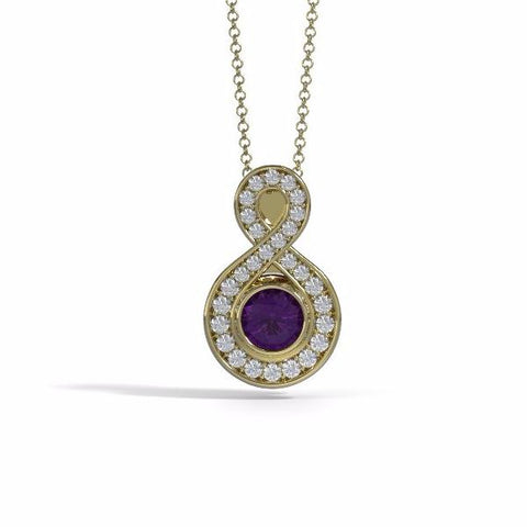 Memorial Jewelry - Sparkling Eternity Pendant (Small) in 18k Yellow Gold with Amethyst and Diamonds- Front