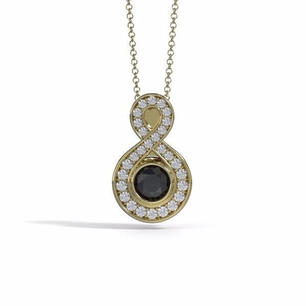 Memorial Jewelry - Sparkling Eternity Pendant (Small) in 18k Yellow Gold with Black Onyx and Diamonds- Front