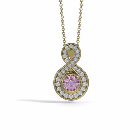 Memorial Jewelry - Sparkling Eternity Pendant (Small) in 18k Yellow Gold with Pink Tourmaline and Diamonds- Front