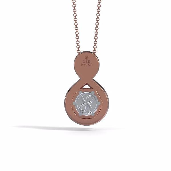 Memorial Jewelry - Eternity Pendant (Medium) in 18k Rose Gold with Black Onyx - Back