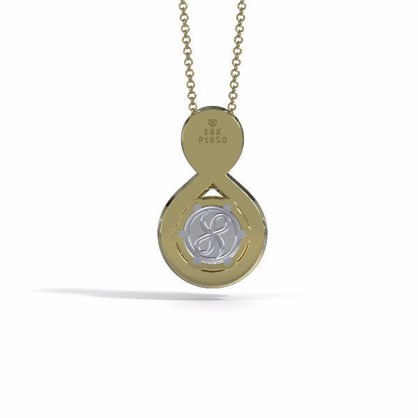 Memorial Jewelry - Eternity Pendant (Medium) in 18k Yellow Gold with Garnet - Back