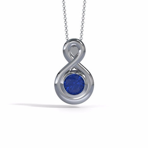Memorial Jewelry - Eternity Pendant (Medium) in Platinum with Blue Sapphire - Front