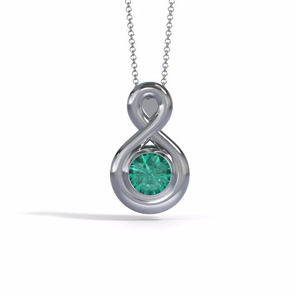 Memorial Jewelry - Eternity Pendant (Medium) in Platinum with Emerald - Front