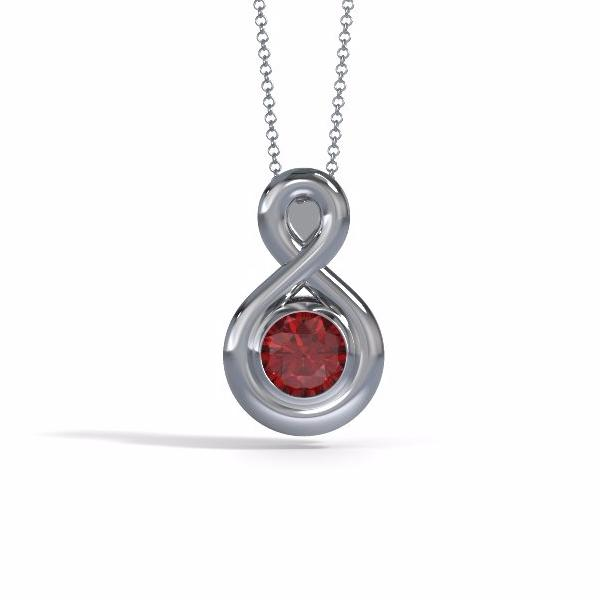 Memorial Jewelry - Eternity Pendant (Medium) in Platinum with Ruby - Front