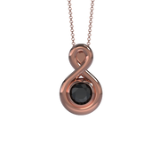 Memorial Jewelry - Eternity Pendant (Medium) in 18k Rose Gold with Black Onyx - Front
