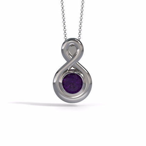 Memorial Jewelry - Eternity Pendant (Medium) in 18k White Gold with Amethyst - Front