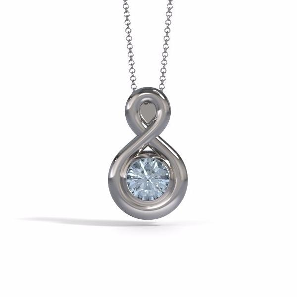 Memorial Jewelry - Eternity Pendant (Medium) in 18k White Gold with Aquamarine - Front