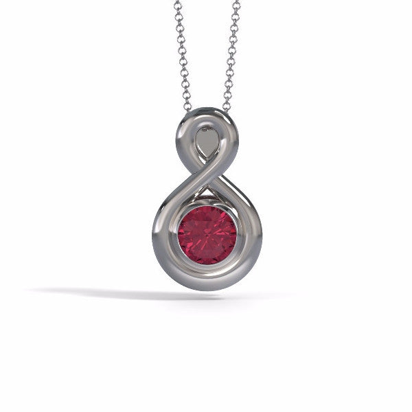 Eternity Pendant (Medium) in 18k White Gold with Garnet