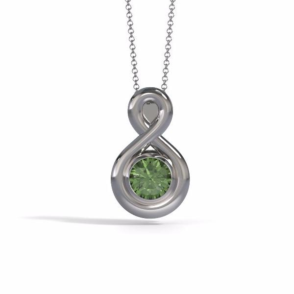 Eternity Pendant (Medium) in 18k White Gold with Peridot