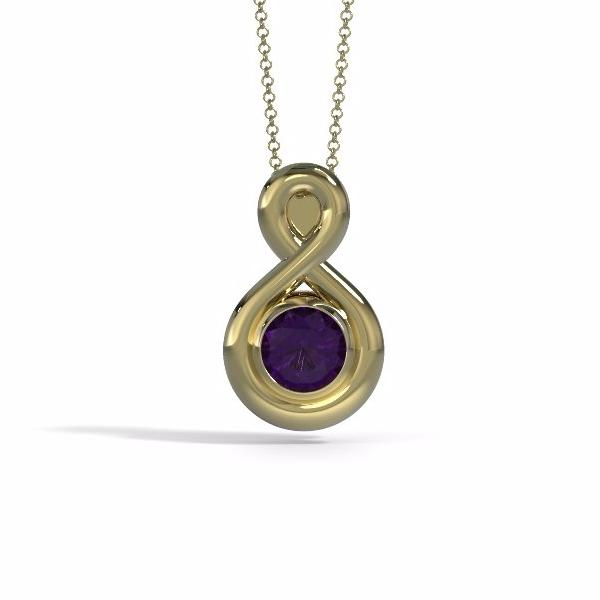 Eternity Cremation Pendant (Medium) in 18k Yellow Gold with Amethyst