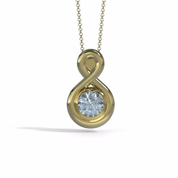 Eternity Cremation Pendant (Medium) in 18k Yellow Gold with Aquamarine
