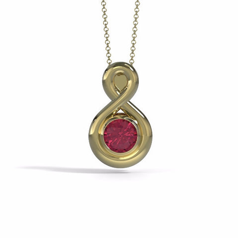 Memorial Jewelry - Eternity Pendant (Medium) in 18k Yellow Gold with Garnet - Front