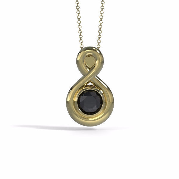 Eternity Cremation Pendant (Medium) in 18k Yellow Gold with Black Onyx