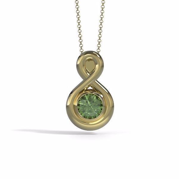 Memorial Jewelry - Eternity Pendant (Medium) in 18k Yellow Gold with Peridot - Front