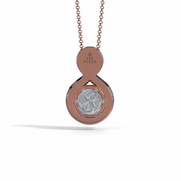 Memorial Jewelry - Sparkling Eternity Pendant (Large) in 18k Rose Gold with Black Onyx and Diamonds- Back