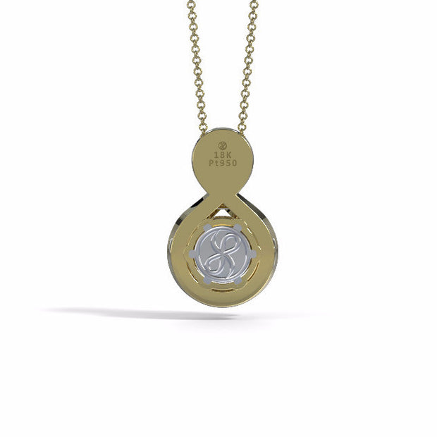 Memorial Jewelry - Sparkling Eternity Pendant (Large) in 18k Yellow Gold with Garnet and Diamonds- Back