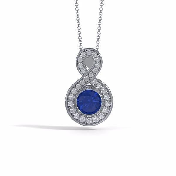 Memorial Jewelry - Sparkling Eternity Pendant (Large) in Platinum with Blue Sapphire and Diamonds- Front