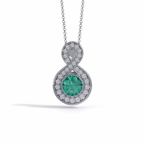 Memorial Jewelry - Sparkling Eternity Pendant (Large) in Platinum with Emerald and Diamonds- Front