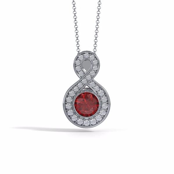 Memorial Jewelry - Sparkling Eternity Pendant (Large) in Platinum with Ruby and Diamonds- Front