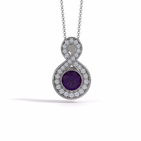 Memorial Jewelry - Sparkling Eternity Pendant (Large) in 18k White Gold with Amethyst and Diamonds- Front