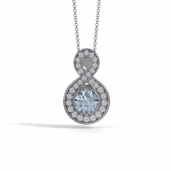 Memorial Jewelry - Sparkling Eternity Pendant (Large) in 18k White Gold with Aquamarine and Diamonds- Front