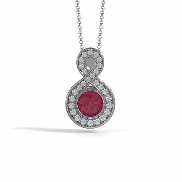 Memorial Jewelry - Sparkling Eternity Pendant (Large) in 18k White Gold with Garnet and Diamonds- Front