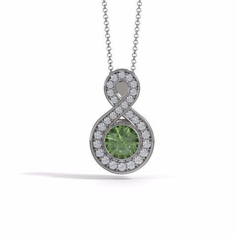Memorial Jewelry - Sparkling Eternity Pendant (Large) in 18k White Gold with Peridot and Diamonds- Front