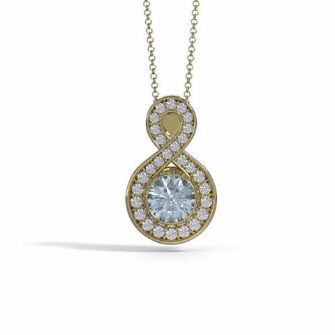 Memorial Jewelry - Sparkling Eternity Pendant (Large) in 18k Yellow Gold with Aquamarine and Diamonds- Front