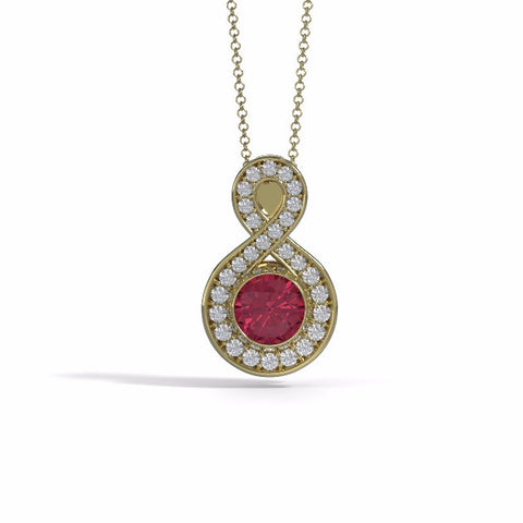 Memorial Jewelry - Sparkling Eternity Pendant (Large) in 18k Yellow Gold with Garnet and Diamonds- Front
