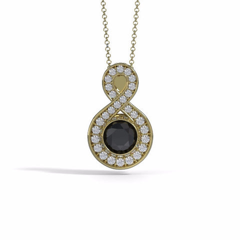 Memorial Jewelry - Sparkling Eternity Pendant (Large) in 18k Yellow Gold with Black Onyx and Diamonds- Front