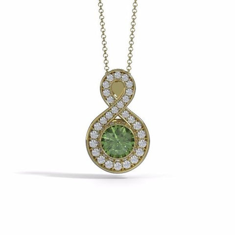 Memorial Jewelry - Sparkling Eternity Pendant (Large) in 18k Yellow Gold with Peridot and Diamonds- Front