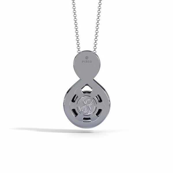 Memorial Jewelry - Eternity Pendant in Platinum with Black Onyx - Back