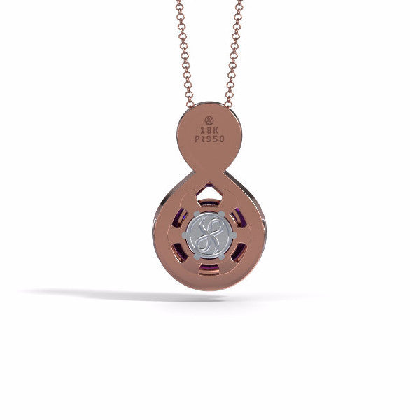 Memorial Jewelry - Eternity Pendant (Large) in 18k Rose Gold with Amethyst - Back